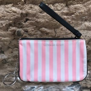 VICTORIA SECRET Stripe Keychain Coin Wristlet Bag